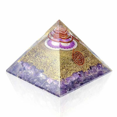 Amethyst Chakra Crown Orgone Pyramid - Orgonite Crystal