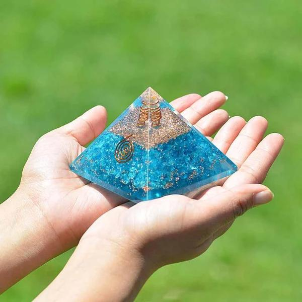 Orgone Aquamarine Energy Generator Pyramid - Orgonite Crystal