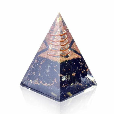Black Tourmaline Nubian Orgone Pyramid - Orgonite Crystal