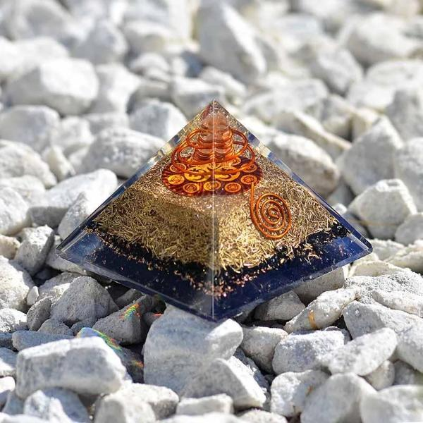 Black Tourmaline Chakra Om Orgone Pyramid - Orgonite Crystal