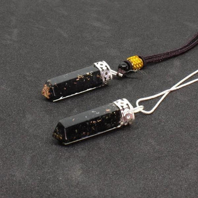 Set of 2 Black Tourmaline Orgone Pendant - Orgonite Crystal
