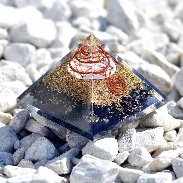 Black Tourmaline David Star Orgone Pyramid - Orgonite Crystal