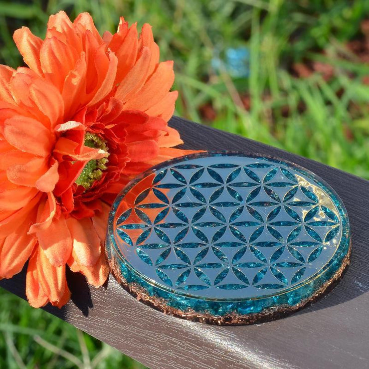 Aquamarine Orgone Charging Plate - Orgonite Crystal