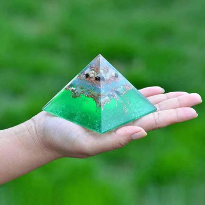 Orgone Multi tourmaline Copper Energy pyramid - Orgonite Crystal