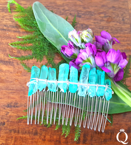 Sea Green Quartz Gemstone Hair Comb