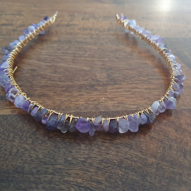 Light Amethyst Gemstone Headband