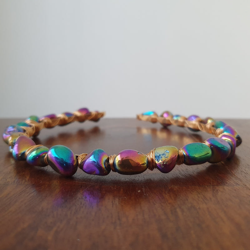 Titanium Aura Quartz Pebbles Headband