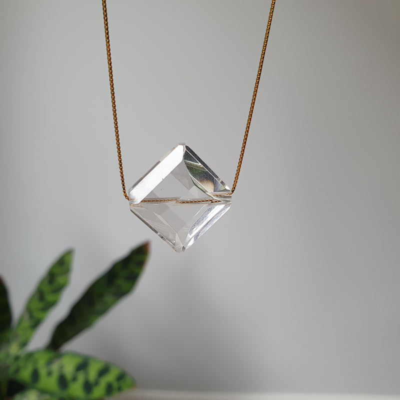 Gold Plated Sterling Silver Clear Quartz Necklace