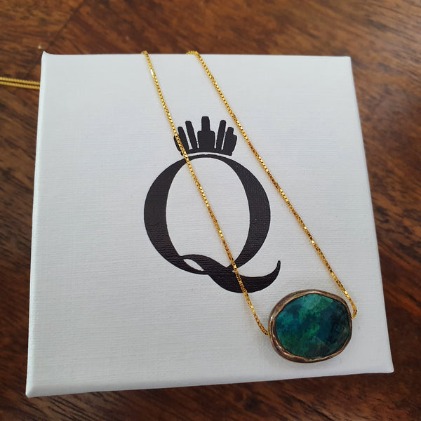 Gold Plated Sterling Silver Turquoise Necklace