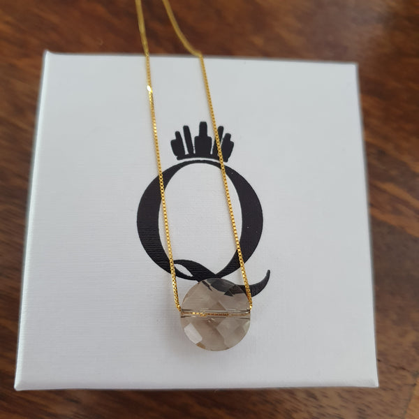 Gold Plated Sterling Silver Smoky Quartz Necklace