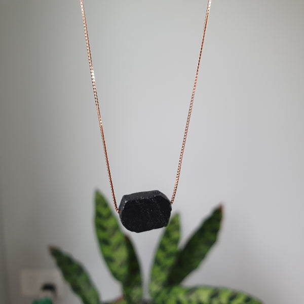 Rose Gold Plated Sterling Silver Black Tourmaline Necklace