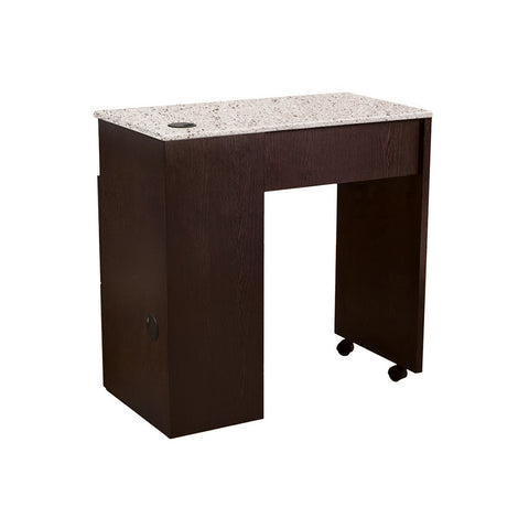 Manicure Table NM904-Chocolate/Brown quartz top
