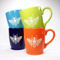 Sandblasted Ceramic Bee Mug