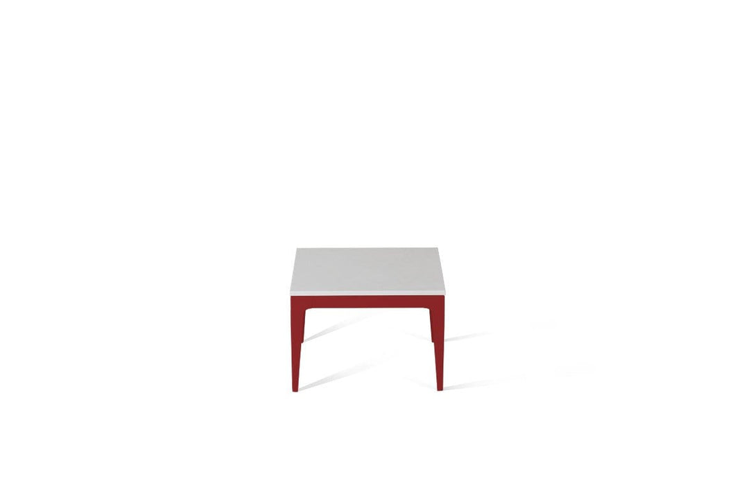 Pure White Cube Side Table Flame Red