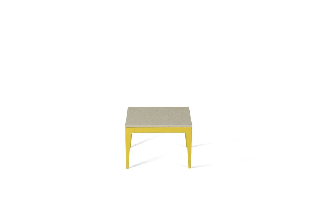 Linen Cube Side Table Lemon Yellow