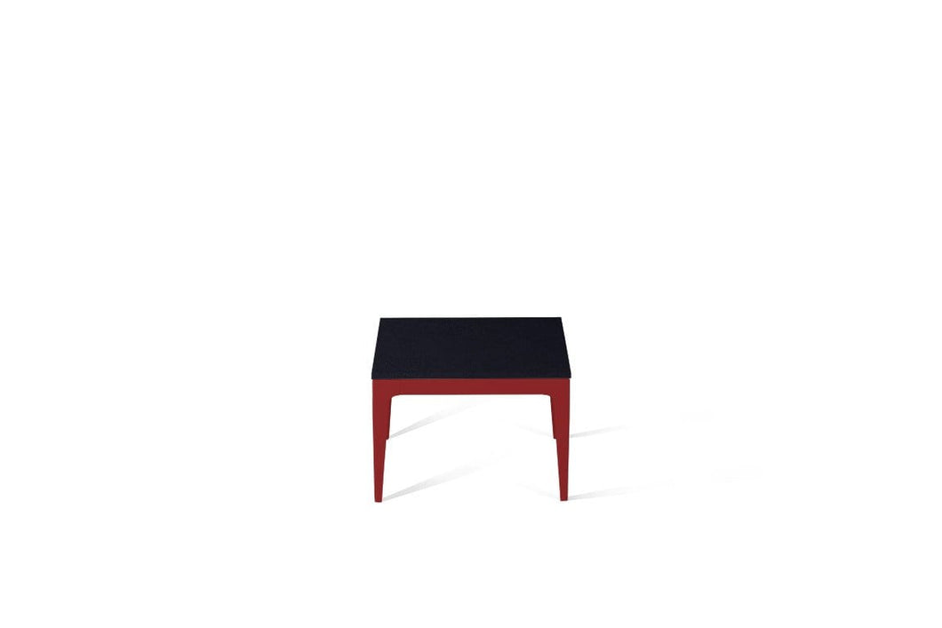 Jet Black Cube Side Table Flame Red