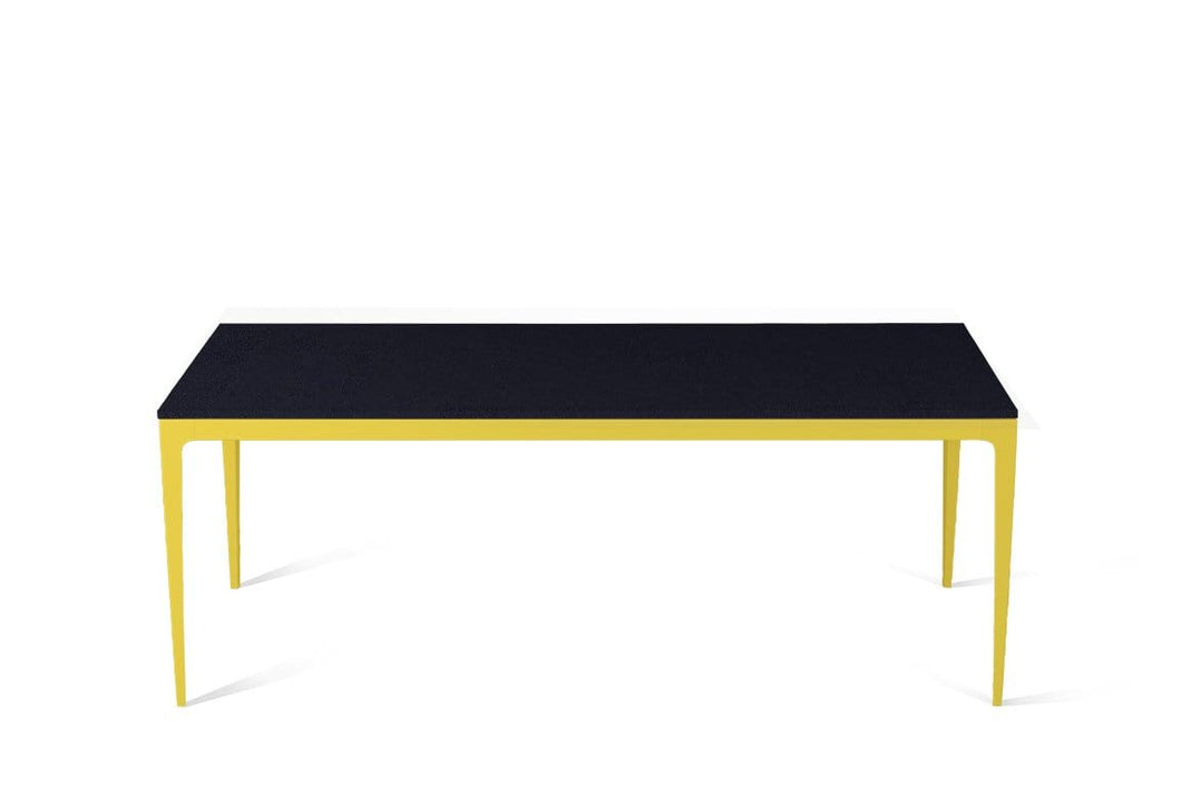 Jet Black Long Dining Table Lemon Yellow