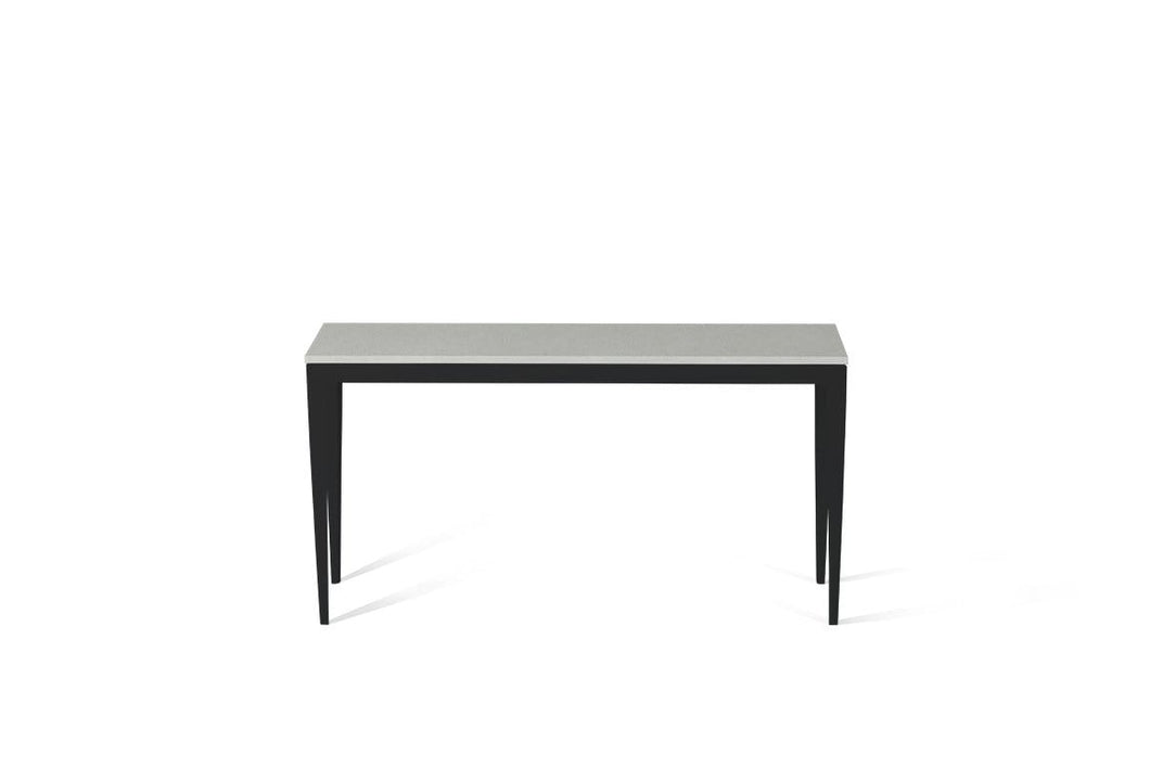 White Shimmer Slim Console Table Matte Black