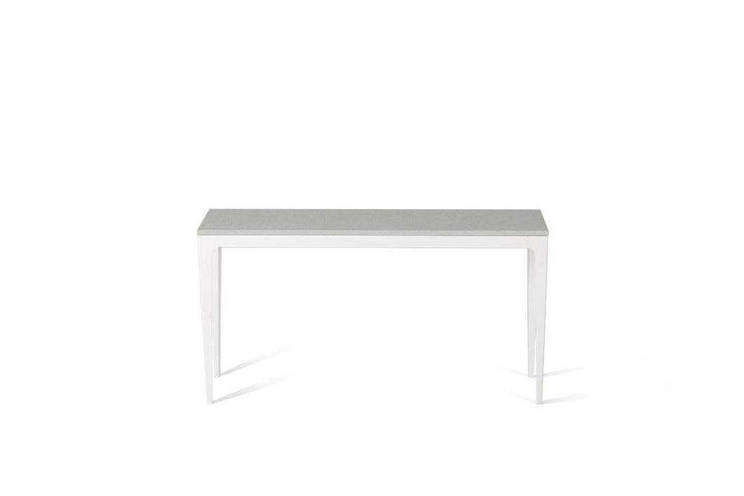 White Shimmer Slim Console Table Oyster
