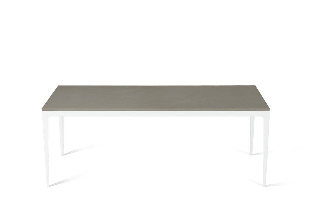 Sleek Concrete Long Dining Table Pearl White