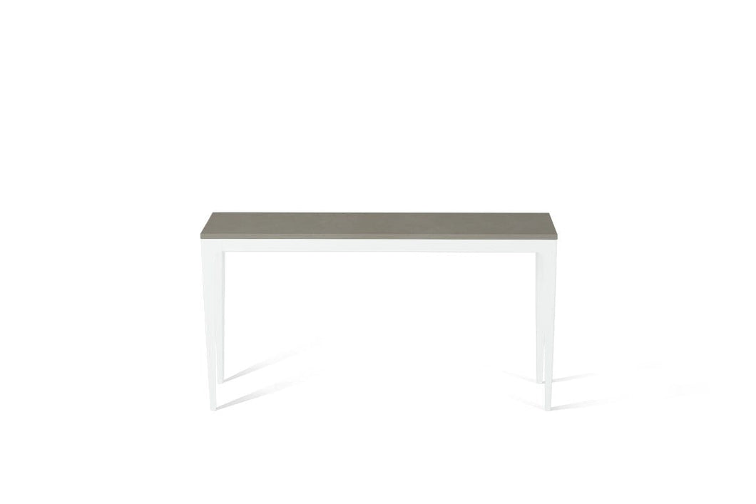 Sleek Concrete Slim Console Table Pearl White