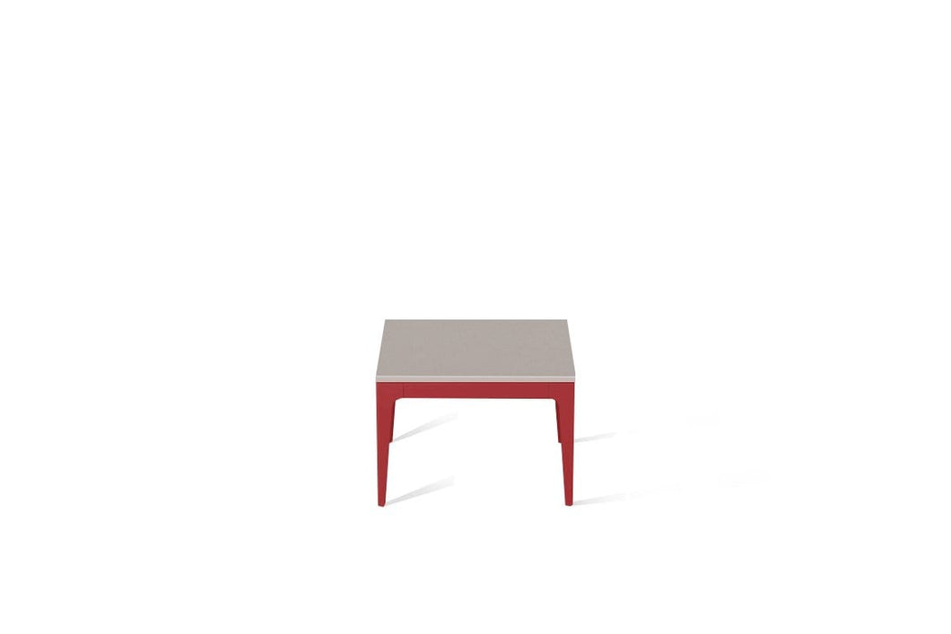 Raw Concrete Cube Side Table Flame Red