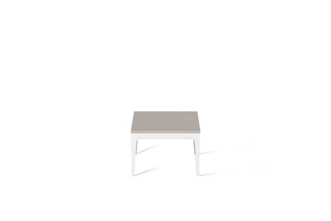 Raw Concrete Cube Side Table Pearl White