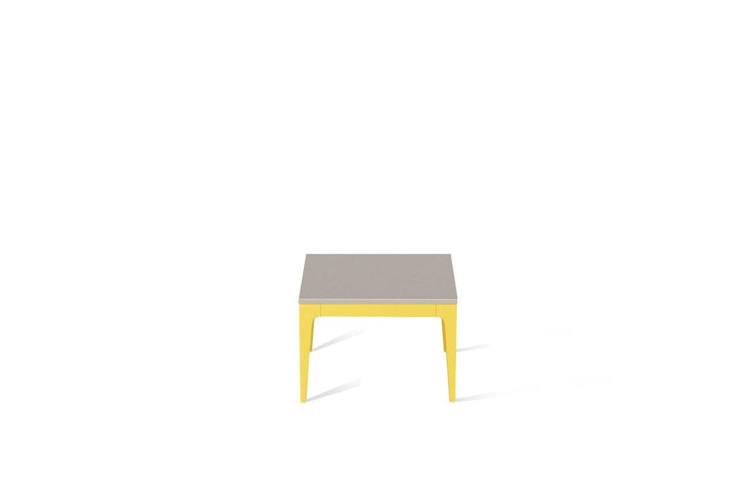 Raw Concrete Cube Side Table Lemon Yellow
