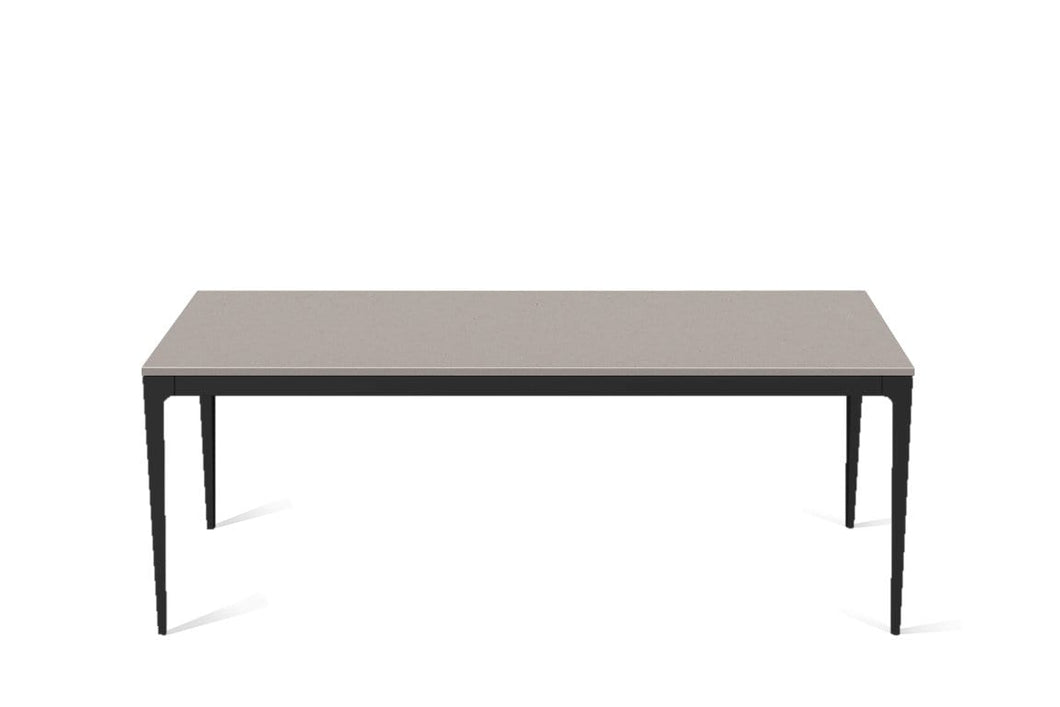 Raw Concrete Long Dining Table Matte Black