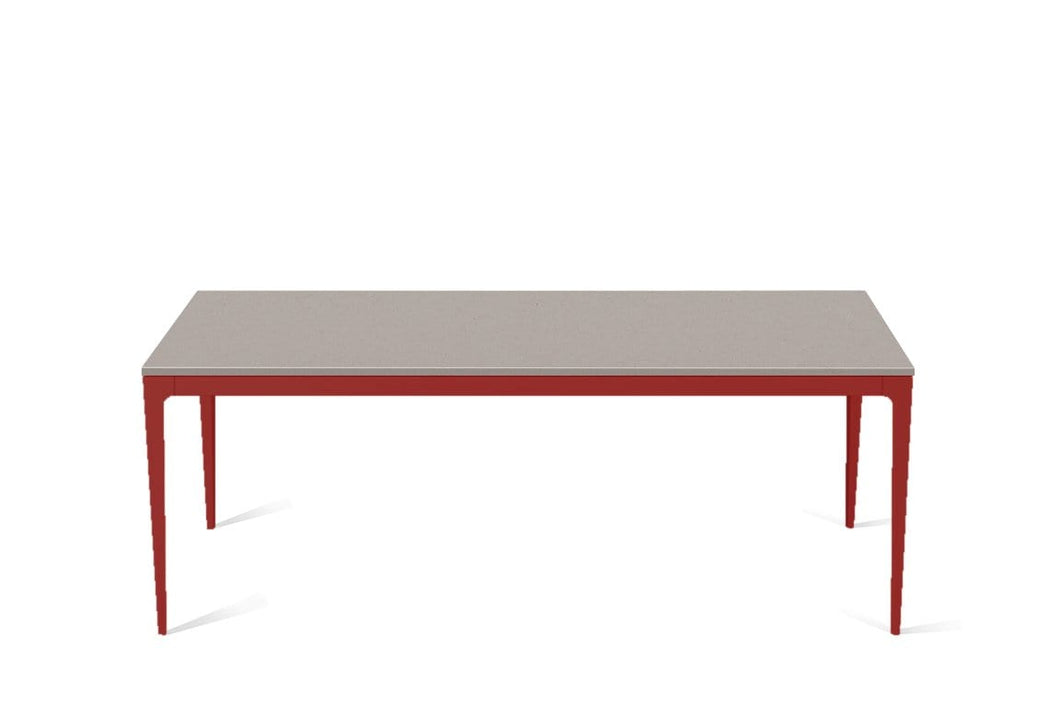 Raw Concrete Long Dining Table Flame Red