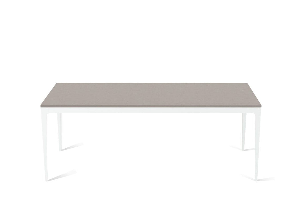 Raw Concrete Long Dining Table Pearl White