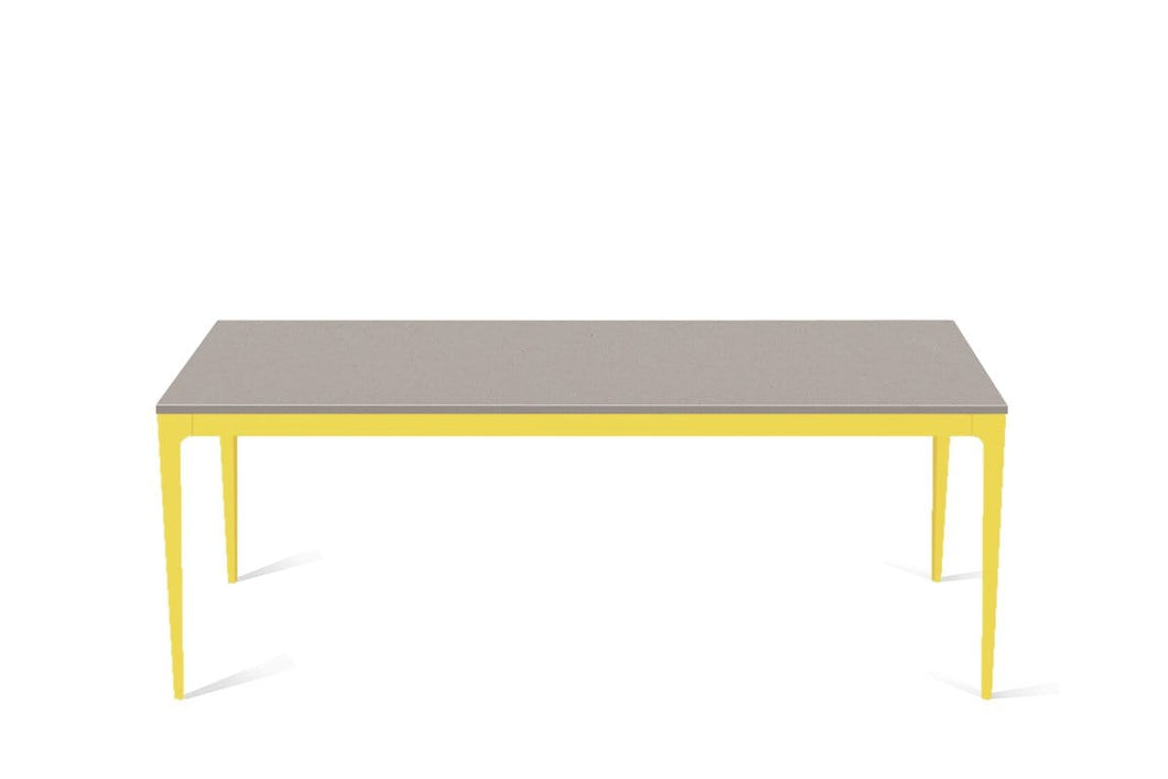 Raw Concrete Long Dining Table Lemon Yellow