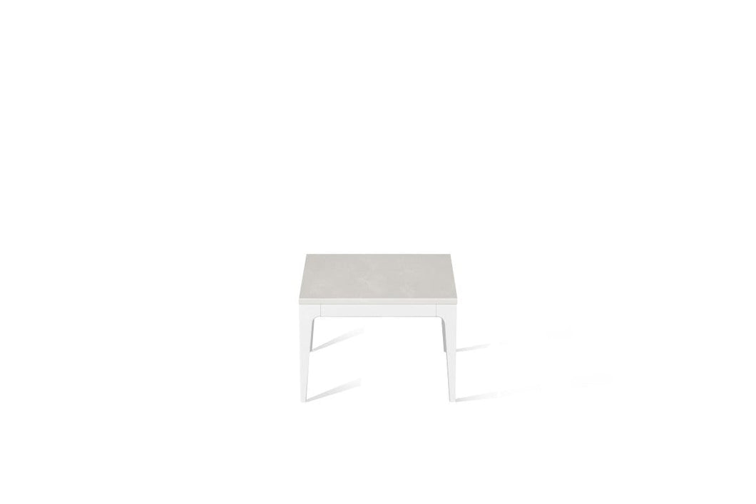 Cloudburst Concrete Cube Side Table Pearl White