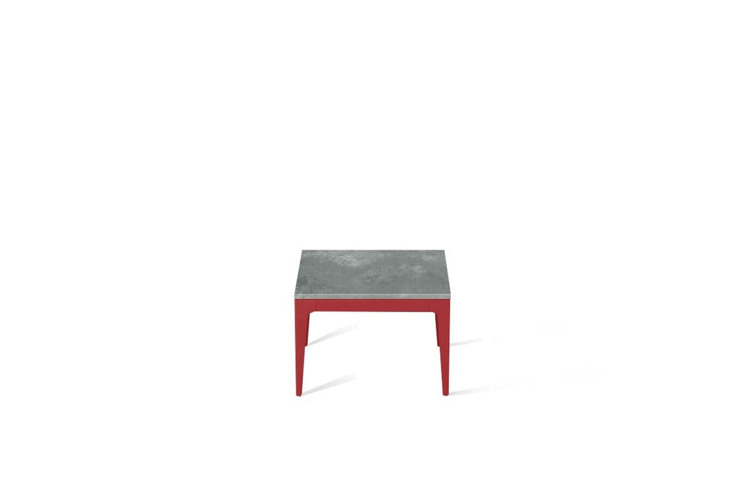 Rugged Concrete Cube Side Table Flame Red