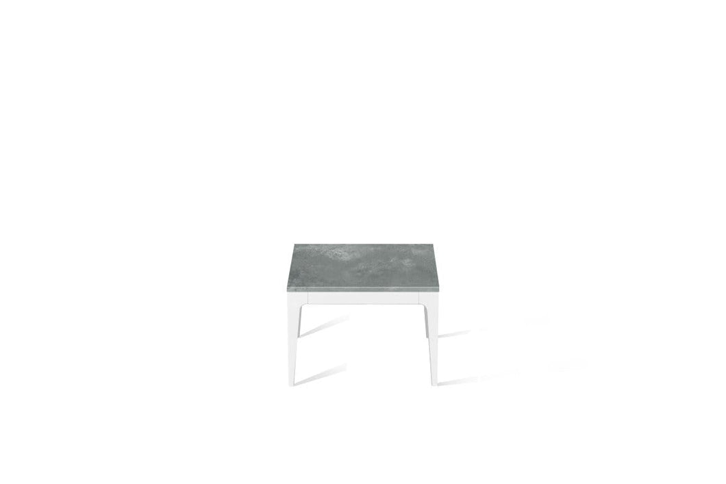 Rugged Concrete Cube Side Table Pearl White