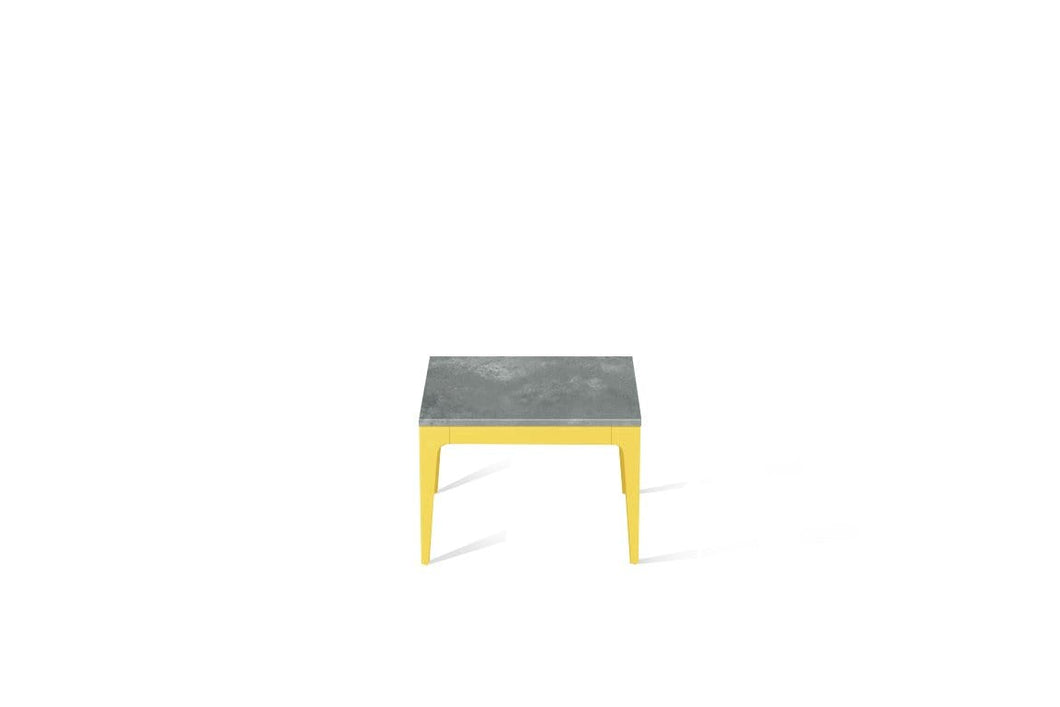 Rugged Concrete Cube Side Table Lemon Yellow