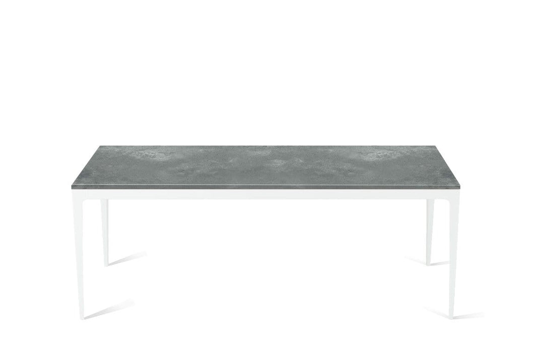 Rugged Concrete Long Dining Table Pearl White