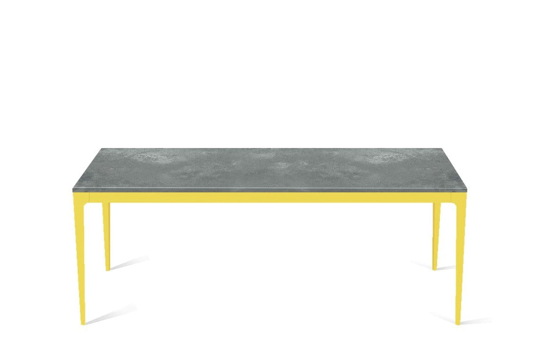 Rugged Concrete Long Dining Table Lemon Yellow