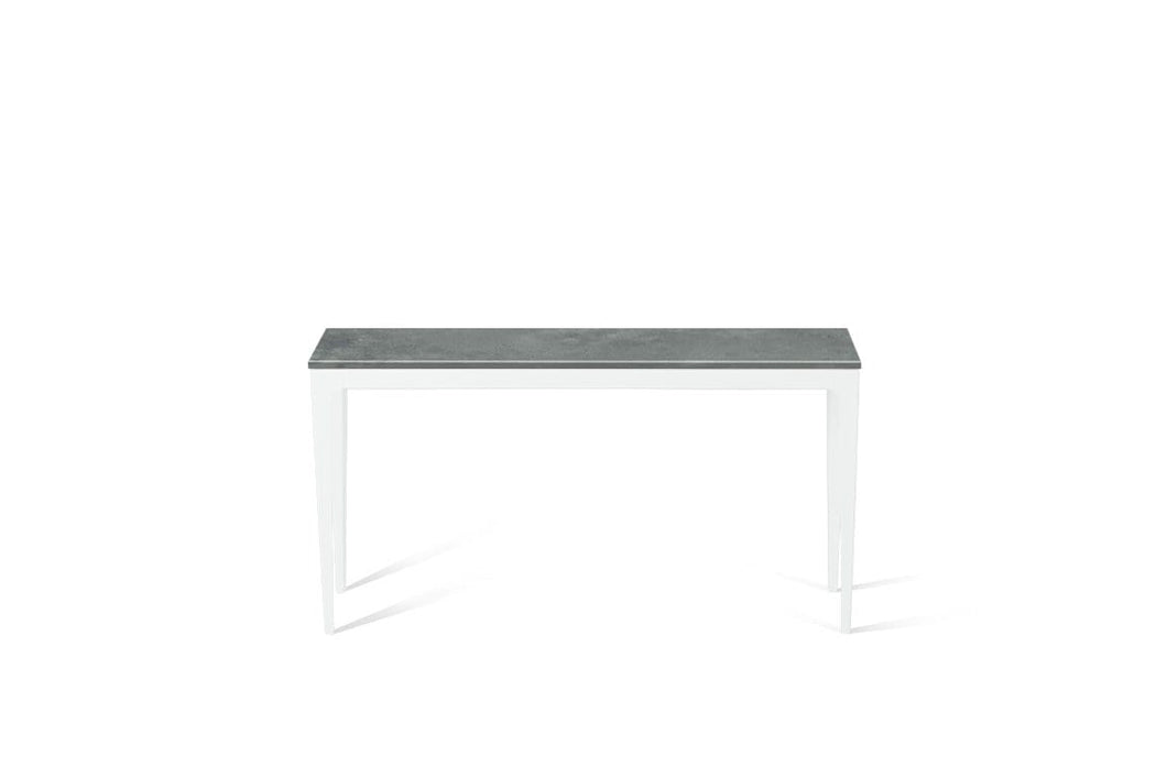 Rugged Concrete Slim Console Table Pearl White
