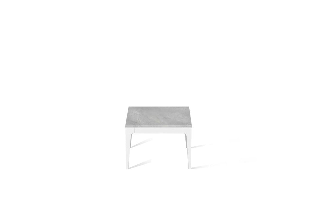 Airy Concrete Cube Side Table Pearl White