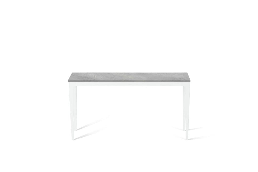 Airy Concrete Slim Console Table Pearl White