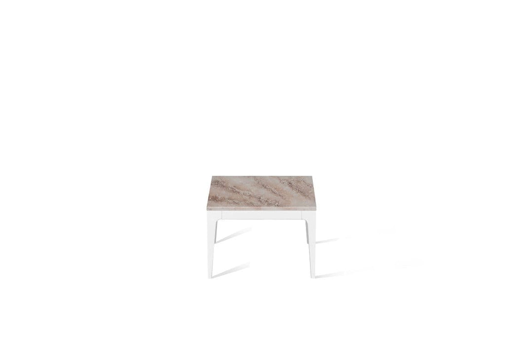 Excava Cube Side Table Pearl White