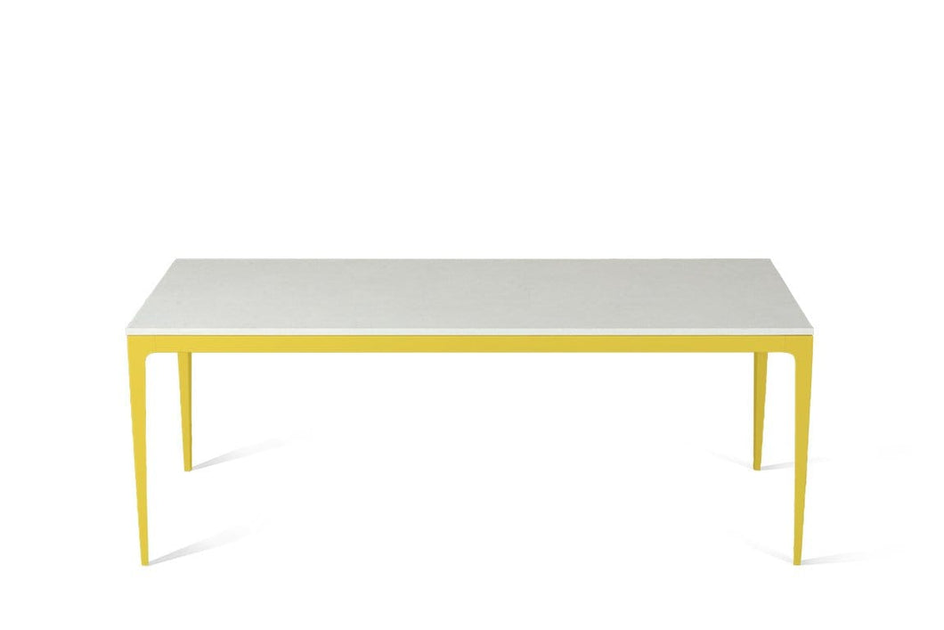 Organic White Long Dining Table Lemon Yellow