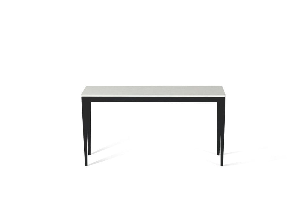 Organic White Slim Console Table Matte Black