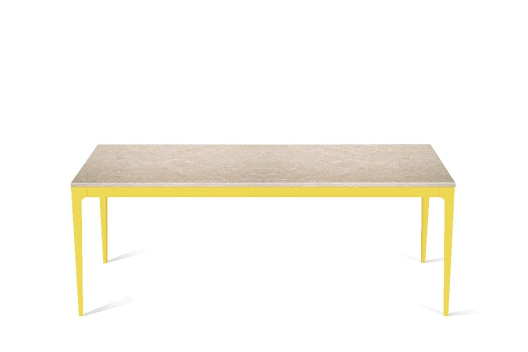 Cosmopolitan White Long Dining Table Lemon Yellow