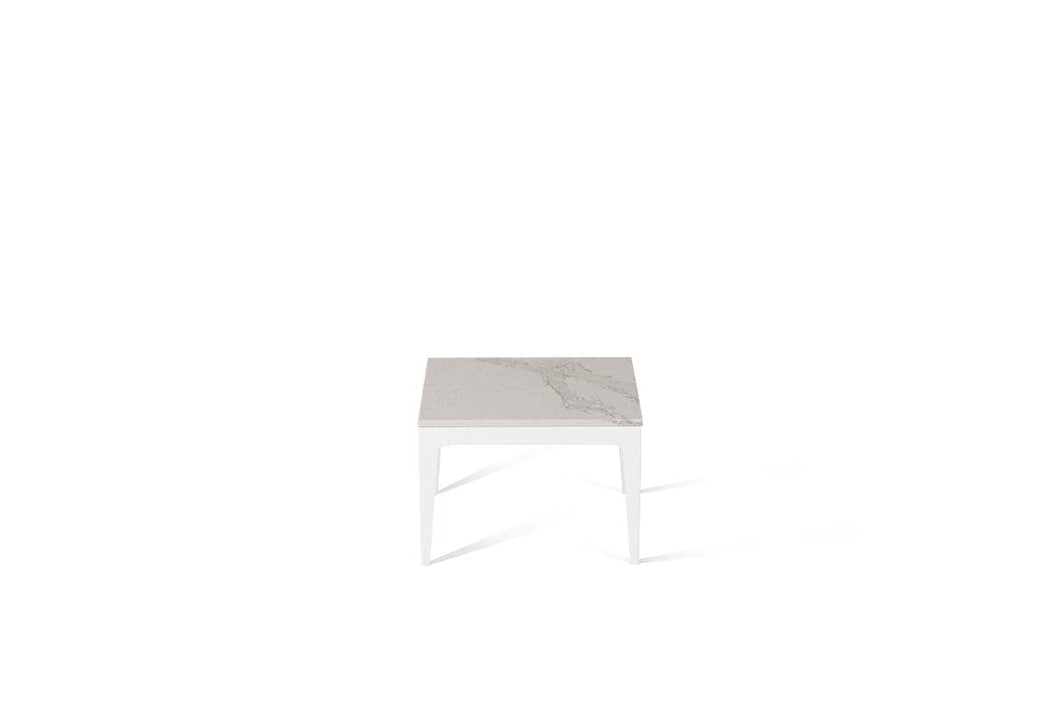 Calacatta Nuvo Cube Side Table Pearl White