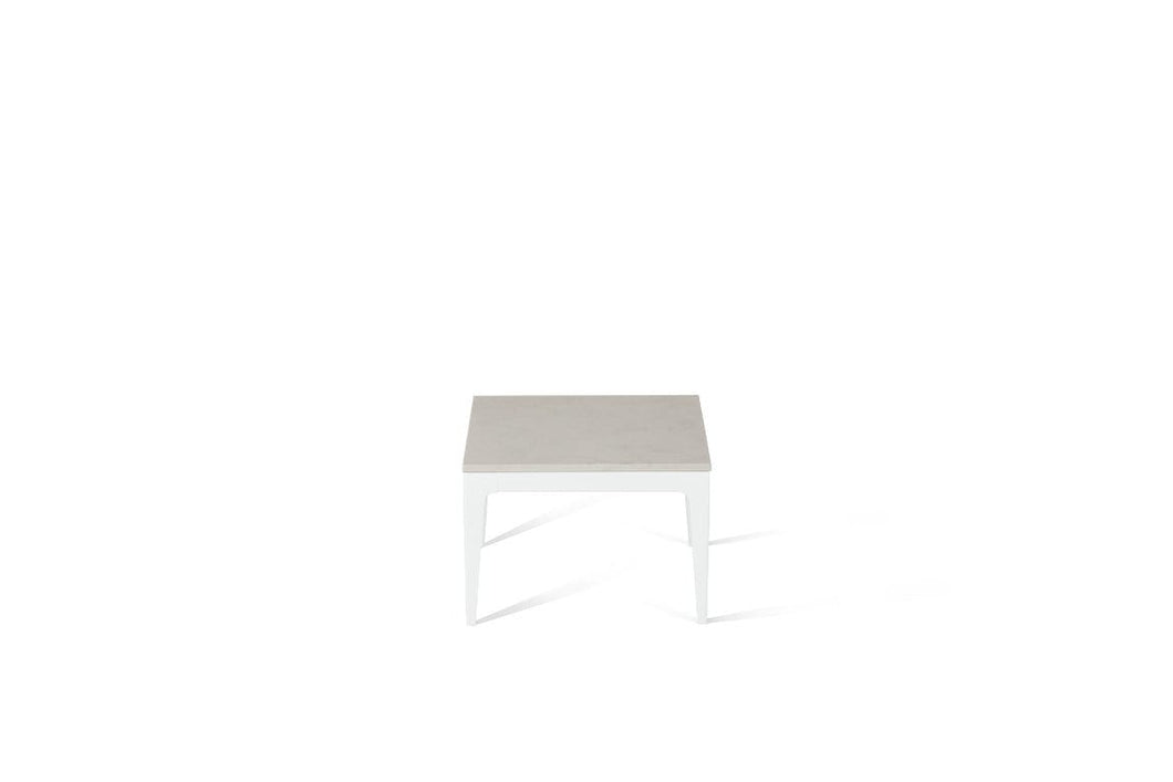 Frosty Carrina Cube Side Table Pearl White