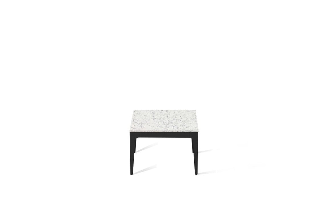 White Attica Cube Side Table Matte Black