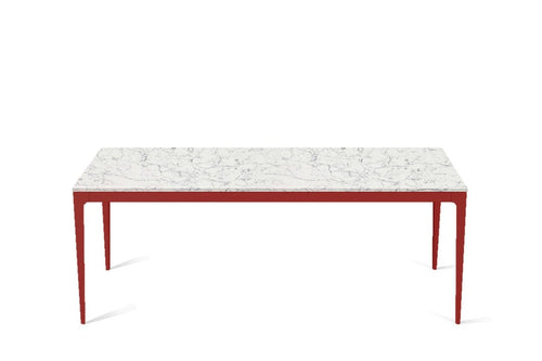 White Attica Long Dining Table Flame Red