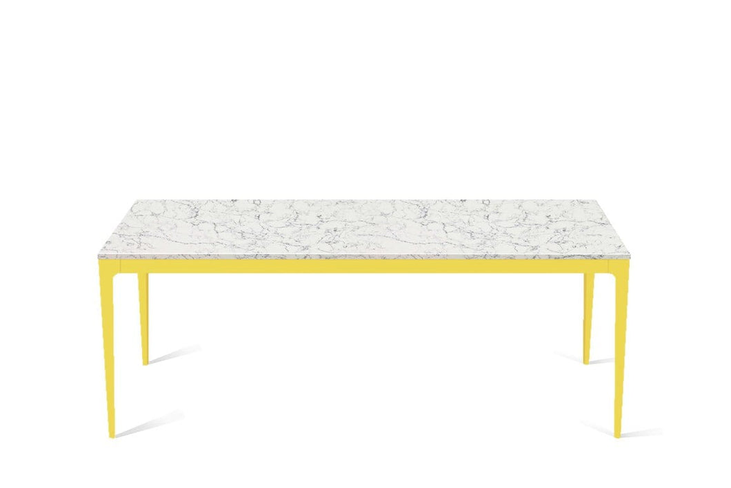 White Attica Long Dining Table Lemon Yellow